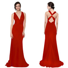 Women Trailing V-neck Long Evening Formal Bridesmaid Dress Prom Party Ball Gown
