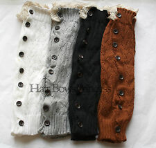 SALE!  USA, Leg Warmers Crochet Lace Trim Button Down Knit Boot Socks Knee High