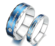 """His and Hers Stainless Steel Couple Wedding Engagement Rings """"Forever Love"""" Free"""