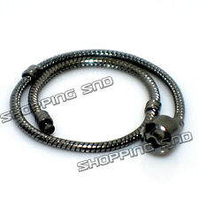 5pcs Black Gunmetal Plated Snake Chain Charm Bracelet Fit European Beads 16-23