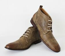 New Men's Brown Ferro Aldo Ankle Boots Snipe Toe Leather Lace Up New Style