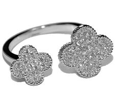 GLITZY PAVE CLEAR CUBIC ZIRCONIA DOUBLE CLOVER ADJUSTABLE RING BRIDAL