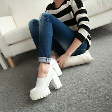 Womens EXTREMELY High Heels CUT OUT Chunky Platform Pump Creeper Shoes Multi Co