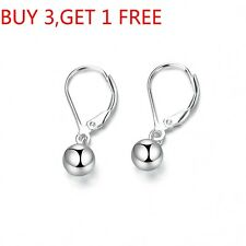 925 Sterling Silver Polished Ball Lever Back Dangle Earrings 5mm 6mm 7mm 8mm 9MM