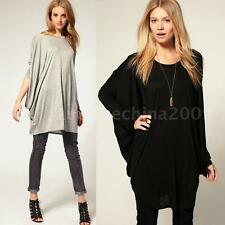 Womens Batwing Dolman Sleeve OverSize T Shirt Tops Casual Loose Long Blouse New