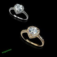 HOT 18K Gold/white gold GP white Swarovski Crystal heart wedding Engagement ring