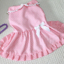 Pet Doggy Puppy Clothes Costumes Cool Dog Cute Polka Dot Bow Princess Dress
