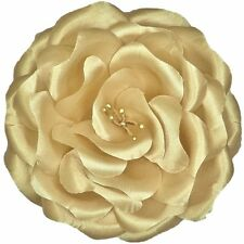 GOLD Flower Corsage Satin Rose Hair Clip Brooch Pin