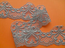"""Beautiful Taupe Grey Coffee Brown Embroidered French Tulle  Lace 6cm/2.5"""""""