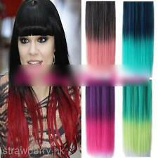 Women Straight Clip-in Hair Piece Colorful Gradient Ombre Hairpieces Extensions