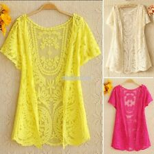 Women Hollow-Out Blouse Shirt Lace Embroidery Floral Crochet Cardigan New EFFU