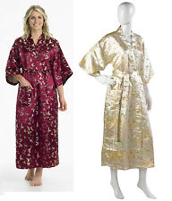 Ladies Gaspe Slenderella Long Kimono Dressing Gown Embroidered Butterfly Wrap
