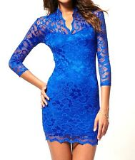 JOHN ZACK COBALT / ROYAL BLUE SCALLOP NECK STRETCH LACE BODYCON DRESS NEW 6 - 20