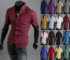 HOT~Sale Mens Stylish Casual Solid Short Sleeve Dress Slim Fit Shirts 16 Colors