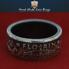 Australian FLORIN Wide Band COIN RING. Pre-Decimal Sterling Silver. Sizes P - Z