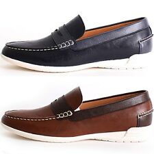 New Polytec Penny Loafer Classic Casual Dress Mens Comfort Shoes Navy Brown
