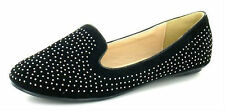 Ladies Spot On Black Flat Slipper Cut Ballerina Shoes with Stud Trim F8953