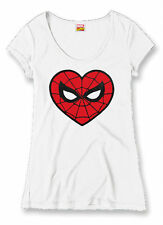 Official Marvel Spiderman Womens Love Heart T-Shirt Geek Film Merchandise Cotton