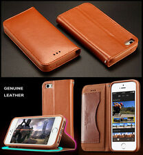 3 Color KLD Luxury Genuine Leather Card Wallet Stand Case Cover For iPhone 5S 5