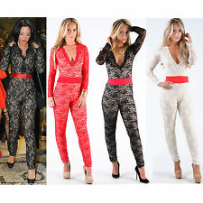Women Ladies Long Sleeve Floral Celebrity Plunge Style Lace Jumpsuit -POPCOUTURE