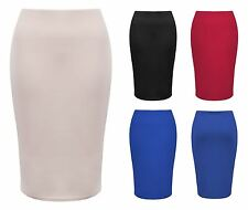 Knee Length Pencil Skirt Stretch Plain Tube Office Casual Midi Skirts 8 10 12 14
