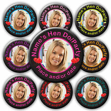 Personalised Photo Hen Hearts Style Badges-58&77mm -pink black turquoise purple