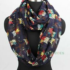 Fashion Women's Owl Branch Viscose Soft Infinity Loop Cowl Eternity Casual Scarf