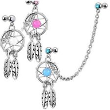 DREAMCATCHER GEM STAR FEATHERS CARTILAGE CHAIN DOUBLE EAR PIERCING BARBELL C286