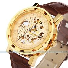 Mens Classic Transparent Steampunk Skeleton Auto Mechanical Man Leather Watch