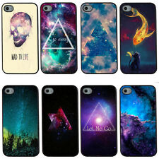 Starry Sky Cat and Fish Skull Hard Plastic Case For iPhone 4/4S/5/5S/5C