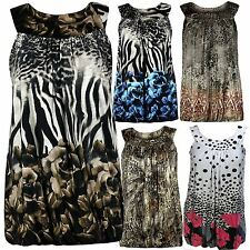 New Womens Plus Size Floral Printed Bubble Hem Tunic Tops M/3X