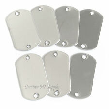 100 PCS TWO HOLE BLANK STAINLESS STEEL DOG TAG SHINY OR MATTE MILITARY SPEC