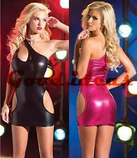 Sexy Women's One Shoulder PVC Open Side Clubwear Minidress Lingerie G1386