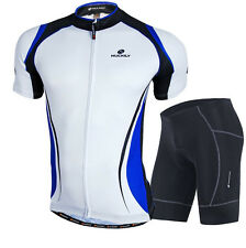 Mens Cycling Bike Short Sleeve Clothing Set Bicycle Wear Suit Jersey Shorts Blue
