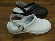 Ladies Full Leather Nurse Hospital Kitchen Back Strap Mule Clog Made In Italy