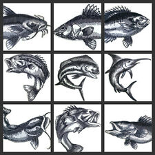 Beautiful Sketched Fish Collection  Embroidered Iron On Patch