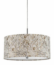 Earth Colors Fabric Modern Drum Pendant Light Fixture Chandelier Hanging Lamp