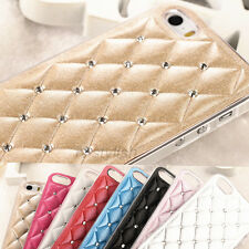Handmade Bling Crystal Leather Hard Back Cover Case For Apple iphone 4 4s 5+Film