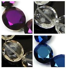 5 Large Czech glass Firepolish Faceted Oval Pendant Focal Beads - Choose Color