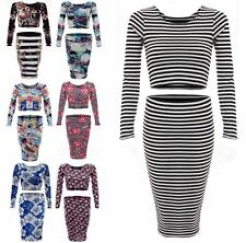 NEW LADIES WOMENS SKIRT CROP TOP SET CELEB STYLE BODYCON TOWIE DRESS 8 10 12 14