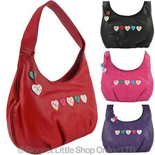 NEW Ladies LEATHER Slouch BAG by MALA Lucy Collection Hearts Shoulder Handbag