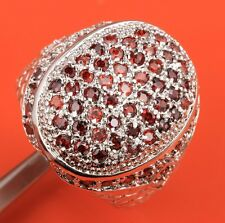 Red Garnet Topaz Gemstones Silver Rings US#Size5 6 7 8 9 B6256