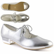 Silver Low Heel PU Tap Shoes with toe taps Childrens Girls by Dance Gear LHPS