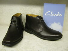 Mens Clarks Shapwick Manor Dark Brown Leather Casual Lace Up Boots