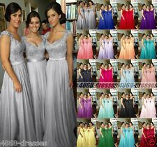 New Noble Cap Sleeve Long Ball Party Evening Formal Bridesmaid Dresses Size 6-18