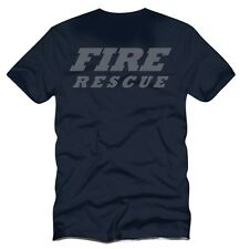 REFLECTIVE PRINT  Fire Rescue Navy Blue  Firefighter Duty T-Shirt
