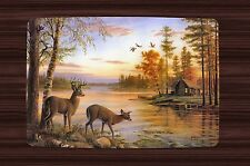 Placemat Set 2,4,6 or 8 Table Place Mats ~ Deer Log Cabin