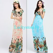 Vintage Womens Cocktail Summer Butterfly Floral Dresses Long Bohemia Maxi Dress