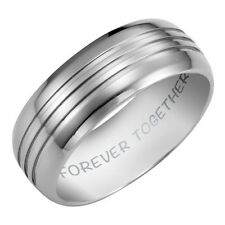 Willis Judd Mens New 7mm Titanium Band Ring Engraved Forever Together + Ring Box