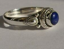 925 Sterling Silver Ethnic Ring 7mm Lapis Lazuli- Bedeck